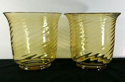 """Vintage Pair Of 1920s Or 1930s Amber Optic Swirl Steuben Vases Apprx 7""""x7"""" FINE"""
