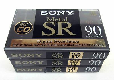 Lot Of 3 New Sealed Sony Metal Type Iv Metal Bias Sr 90 Cassette Tapes Italy