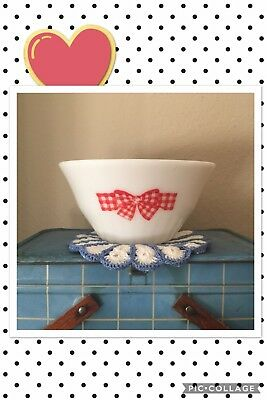 RARE Mckee Red Gingham Bow Mixing Bell Bowl Hard To Find! Milk Glass Vintage