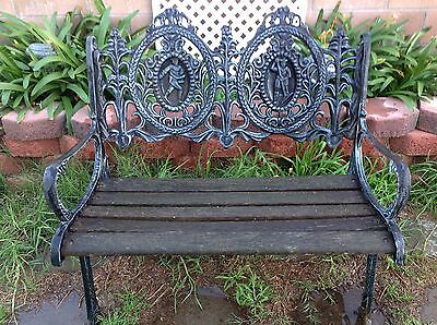 Vintage Midcentury Wrought / Cast Iron Park Bench With Back Design