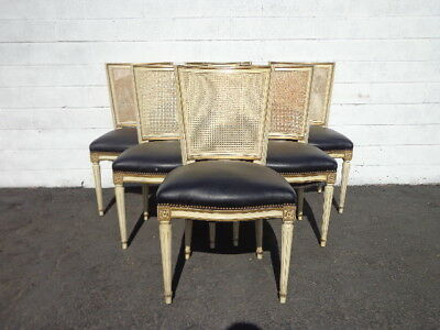 Dining Chairs 6 Louis XVI Chair Country French Provincial Neoclassical Cane Chic