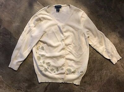 Vintage Ann Taylor Ivory Cream Off White Floral Cardigan Sweater Size Small