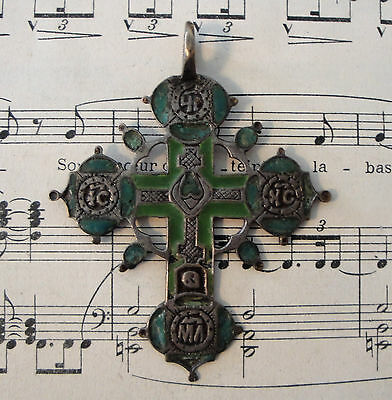 RARE Large Antique Enameled Russian Orthodox Bronze Cross 18th century