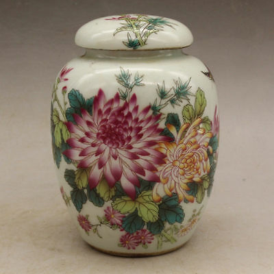 Chinese old hand-carved porcelain famille rose flower and bird tea caddy