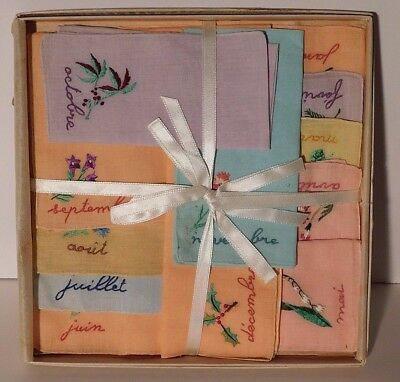 Vintage Floral Linen Hankies Handkerchiefs 12 Months of the Year in French NOS