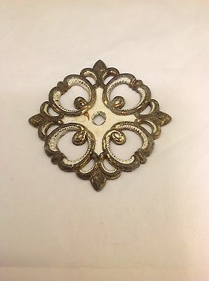 Vintage Metal Square Drawer Pull Plate Back Floral Design 1968 'JB' #4