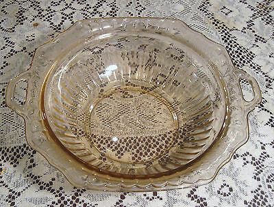 Mayfair Open Rose Pink Depression Glass Bowl W/ 2 Handles  Anchor Hocking 11.5""