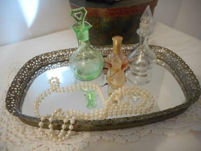 Vtg  Mirrored Oval Dresser Vanity Tray Gold Tone Filigree