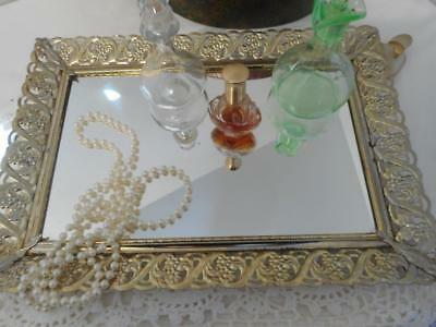 Vtg  Mirrored Dresser Vanity Tray Gold Tone Filigree