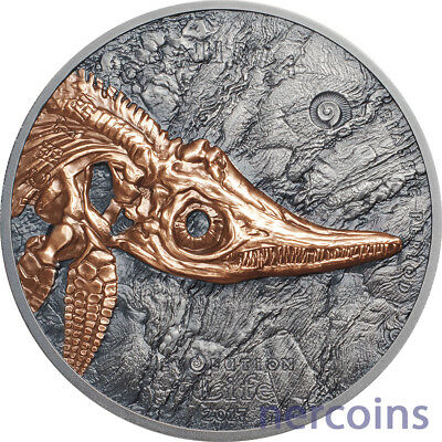 Mongolia 2017 Evolution of Life ICHTHYOSAUR 500 Togrog 1 Oz Silver Coin Perfect