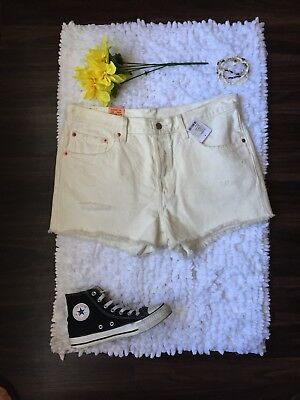 80ca73a2c3 NWT 32 Levis 501 Urban Outfitters X Renewal White Denim Distressed Cutoff  Shorts