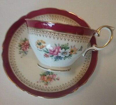 Crown Staffordshire Vintage Cranberry Band Floral Motif Teacup & Saucer - 1930's