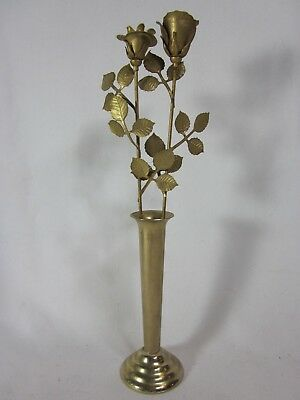 Petite Vintage Brass Bud Vase With Roses Accent Home & Garden Flower Vessel