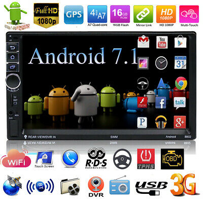 "7"" Double 2Din Quad Core Android7.1 Car MP5 Player Radio Stereo GPS Nav WIFI USB"