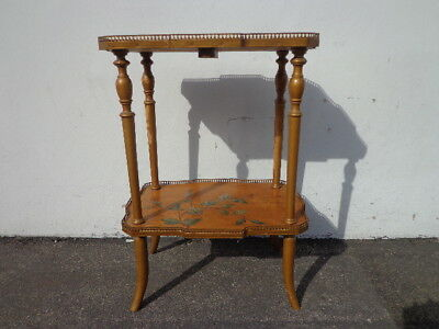 Tole Accent Table Country French Provincial End Side Painted TV Stand Entry Way