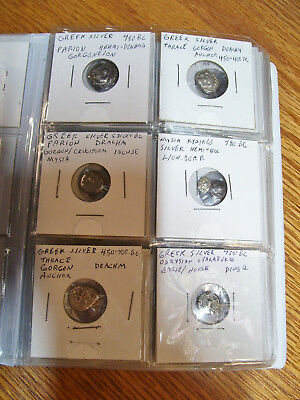 Lot of 6 Quality Ancient Greek Silver Coins Lion Boar Eagle Horse Hemmi Drachm