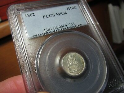 Registry Seated Liberty Half Dime 1862 Pcgs  Ms-66  Unimprovable -  White   Pq