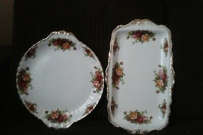 Royal albert old country roses 1×oblong and 1× round handled  sandwich plates