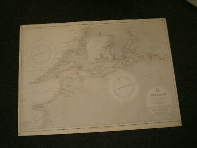 Vintage Admiralty Chart 2254 IRELAND - TRALEE BAY to LISCANOR BAY 1878 edition