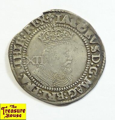 1623-1624 ⚜ Third Coinage 6th Bust IACOBVS James I XII 1 Shilling Silver Coin NR