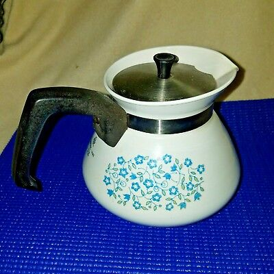 Vintage Corning Ware Teapot Blue Heather Pattern 6 Cup With Lid