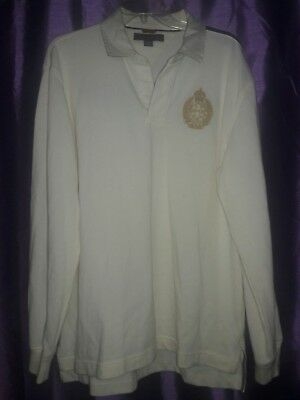 VTG 90s Men's Tommy Hilfiger Long sleeve polo with spellout in Cream/Ivory Large