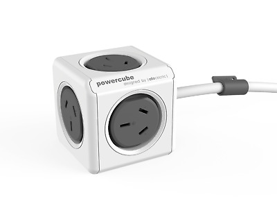 Allocacoc Powercube Extended GREY with 1.5M Cable 5 power Outlets