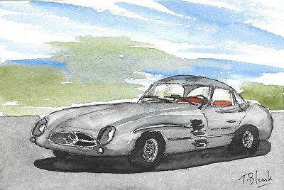 ORIGINAL AQUARELL - Mercedes-Benz 300 SLR Coupé.