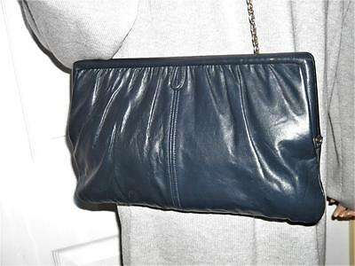 Navy leather clutch purse with chain.Vintage 1950