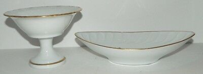 Limoges Oval Dish & Small Compote - Gold Flower Decor