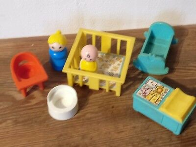 Vintage Fisher-Price Little People Nursery Accesoires   1972