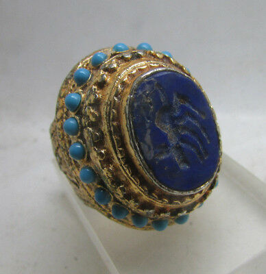 Late Medieval Near Eastern Heavy Gold Gilded Seal Ring With Lapis Lazuli Stone