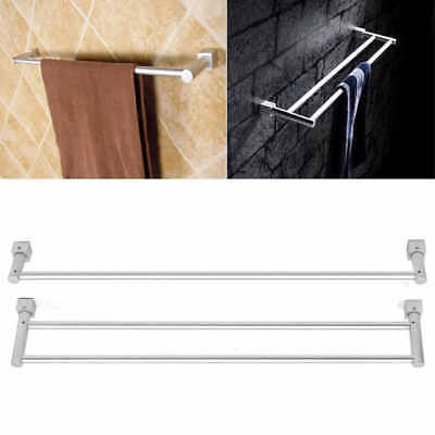 Single Double Bar Towel Rail Holder Wall Mounted Bathroom Rack Shelf  Storage