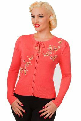 Black Floral Roses Embroidery Vintage 1950/'s Retro Cardigan By Banned Apparel