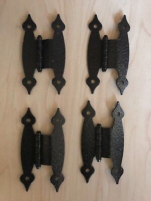 "4 Vintage Hammered BLACK Painted Steel Cabinet Door HINGES H Style 3/8"" Offset"