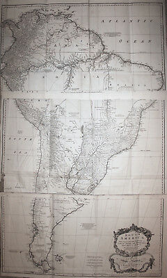 Wall map of South America - 3 sheets - Postlethwayt 1755 RARE