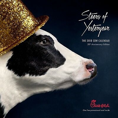 2018 Chick-fil-A Cow Calendar with Card! $60 value!! Free Offer Every Month!