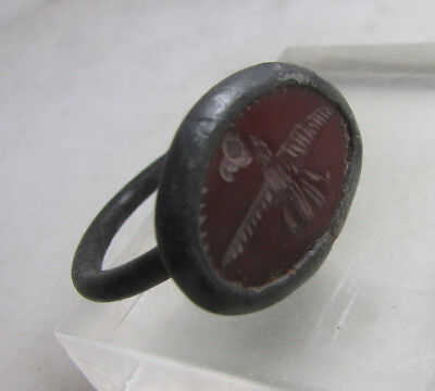 Ancient Rome Bronze Intaglio Ring With Carnelian Stone And Legionary Eagle