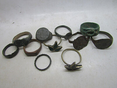 Lot Of Ancient Roman To Post Medieval Silvered And Bronze Rings