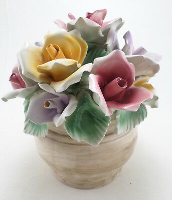 Capodimonte Centerpiece Rose Bouquet Yellow Purple & Pink Roses LARGE Vintage