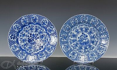 Nice Pair Of Large Antique Chinese Blue And White Porcelain Plates - Kangxi Per