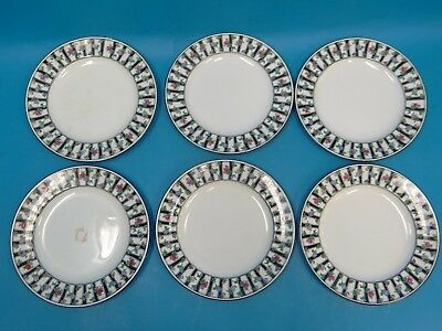 Antique Set 6 1181 Booths England No 649409 Flower Rose Pattern Saucers Small