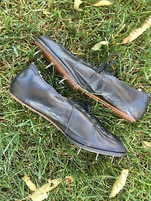Old Antique 1920's All Black Leather Track Shoes Spikes Vintage Awesome Shape