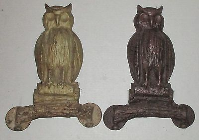 Cast Iron Owls for Fireplace no Andiron Missing Eyes Vintage Halloween