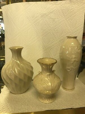 Vintage Classic Lenox Open Pierced Vase Embossed Gold Trim Lot Of Three