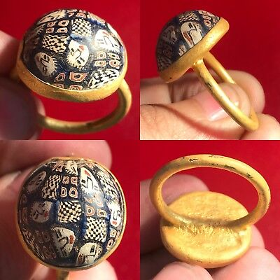 Lovely Rare Ancient Mosaic Glass Gold Gilding Bronze Ring #sh604