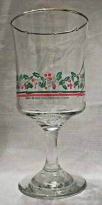 LIBBEY Arby's 1985 Green Holly Berry,Wine/Water Goblet/Glass Gold Trim,Christmas