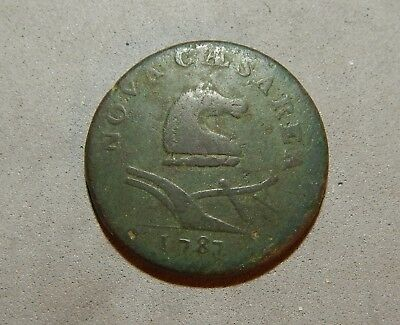 1787 Post Colonial New Jersey Horse and Plow w/ Shield Circulated Copper Coin NR