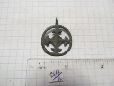 "Ancient bronze pendant ""Cross in circle"" Kievan Rus Vikings 9-13 AD № 269/15."