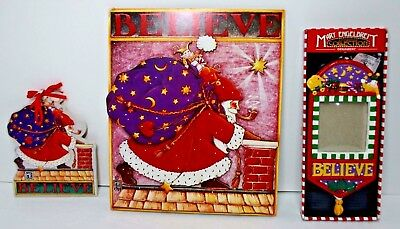"Mary Engelbreit Christmas ""BELIEVE"" 3 Pieces Frame Ornament Wall Plaque Santa"